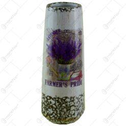 Vaza realizata din ceramica - Design cu lavanda - Cilindrica (Model 1)