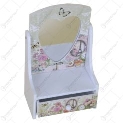Cutie pentru bijuterii cu 1 sertar si oglinda - Trandafir