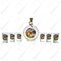 Set 6 pahare de tuica cu sticla. decorate cu grafica - Vlad Tepes - Dracula