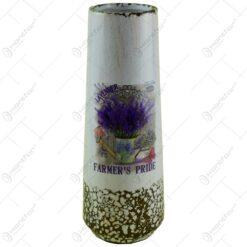Vaza realizata din ceramica - Design cu lavanda - Cilindrica (Model 3)
