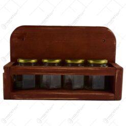 Set 4 recipiente pentru condimente cu suport - Diverse culori (Model 1)
