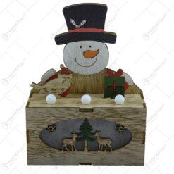 Ornament cu led realizat din lemn - 2 modele - Mos Craciun/Om de zapada