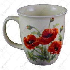 Cana realizata din ceramica - Design cu floare de mac