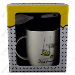 "Cana cu lingurita in cutie decorativa - ""Buna dimineata"""