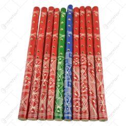 Fluier realizat din lemn - Design Traditional - Diferite culori - Mare