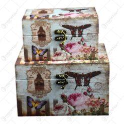 Set 2 cutii pentru depozitare realizate din lemn - Design Vintage - Diferite modele