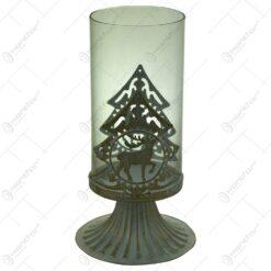 Suport pentru lumanare cu candela - Design cu ren si brad