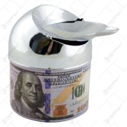 Scrumiera metalica cu sistem de curatare - Design cu bancnota (Model 1)