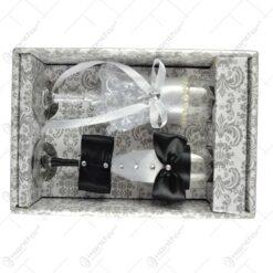 Set 2 pahare realizate din sticla pentru mirii (Model 2)