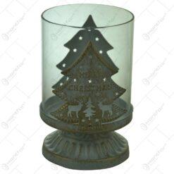 """Suport pentru lumanare cu candela - Design cu brad si inscriptia """"Merry Christmas"""""""