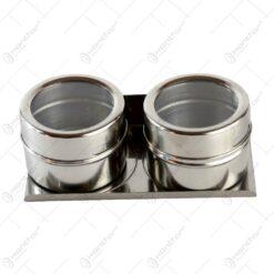 Set 2 recipiente condimente din sticla cu suport magnetic