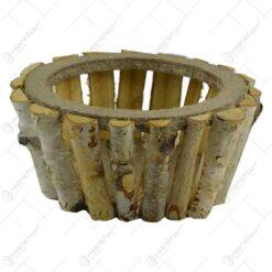 Lada pentru flori de forma rotunda realizata din mesteacan - Naturala (Model 2)