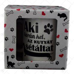 """Cana Boss realizata din ceramica in cutie decorativa -""""Aki koran kel . az kutyat setaltat"""""""