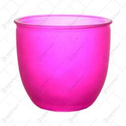 Ghiveci pentru flori realizat din sticla - Roz-Mat