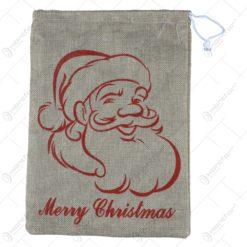 """Sac pentru cadou realizat din panza - Design cu inscriptia """"Merry Christmas"""" - Diverse modele"""