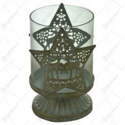 Suport pentru lumanare cu candela - Design cu stea si reni (Model 1)