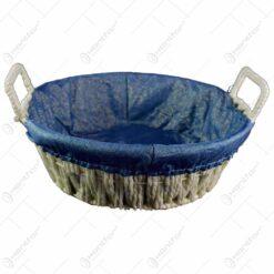 Cos pentru paine realizat din metal si material textil - Crem-Albastru