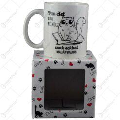 "Cana Boss realizata din ceramica in cutie decorativa - Design inscriptionat ""Van elet cica nelkul. csak sokkal maganyosabb"""
