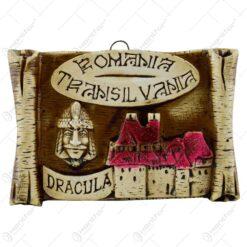 Placheta din ipsos in forma de pergamen reprezentand castelul Bran si Vlad Tepes - Mica