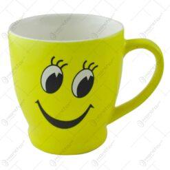 Cana ceramica galben cu design zambet