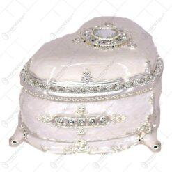 Caseta pentru bijuterii din metal in forma de inima. decorat cu pietre semipretioase si cu ornamente - Elegant Metal