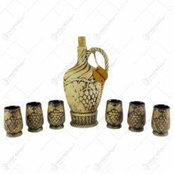 Set pentru servit vin realizat din ceramica - Design strugure (Model 3)