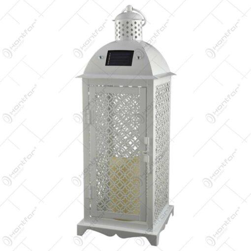 Lampa solara cu led in forma de felinar - Alb