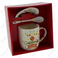 Set cana de craciun cu farfurie si lingura realizata din ceramica in cutie - Design Craciun - Diverse modele