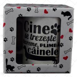 """Cana Boss realizata din ceramica in cutie decorativa - Design inscriptionat """"Cine se trezeste devreme plimba cainele"""""""