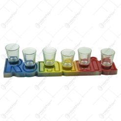Suport pahare din lemn in forma de litare in culori nationale. cu 6 pahere de tuica - Romania
