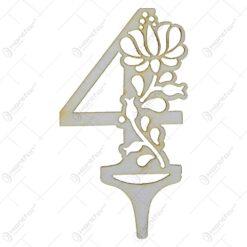 Numere decorative realizate din lemn 0-9 - Design cu flori