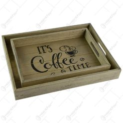 """Set 2 tavi pentru servire realizate din lemn - Design cu inscriptia """"It's coffee time"""""""