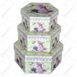 Set 3 cutii hexagonale pentru cadouri - Design cu flori - Diverse modele