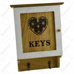 """Cutie pentru chei realizata din lemn - Design vintage cu inimioara si inscriptia """"Keys"""""""