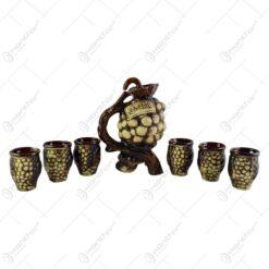 Set pentru servit vin realizat din ceramica - Design strugure (Model 6)