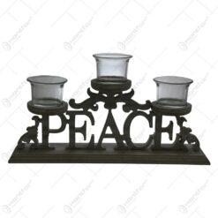 Suport pentru trei lumanari realizat din lemn - Design Peace