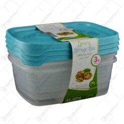 Set 3 cutii pentru alimente realizate din plastic - Mare - Diverse culori