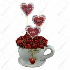 Ghiveci cu farfurie decorat cu trandafiri si inimioare - 2 modele