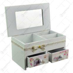 Cutie pentru bijuterii in forma de dulapior - Design vintage cu trandafiri si bicicleta (Model 3)