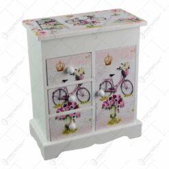 Cutie pentru bijuterii in forma de dulapior - Design vintage cu trandafiri si bicicleta (Model 4)