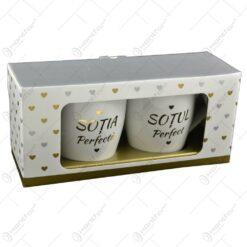 Set 2 cani Wedding realizate din ceramica - Design Sot-Sotie (Model 2)