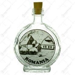Plosca mica din sticla. decorata cu grafica alb-negru - Romania