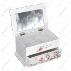 Cutie pentru bijuterii cu sertar si oglinda realizata din lemn - Design vintage cu trandafiri