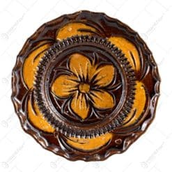 Farfurie pentru decor din ceramica. lacuit si gravat cu motive florale (10 CM)