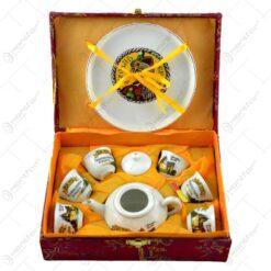 Set pentru ceai din ceramica  in cutie eleganta cu captuseala - Ceainic. farfurie si 6 cesti
