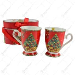 Set cana de craciun realizata din ceramica in cutie cadou - Design cu pom de Craciun