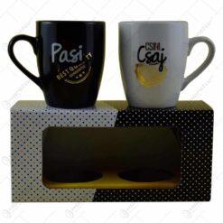 """Set 2 cani Barrel din ceramica in cutie decorativa - Design """"Pasi""""/""""Csaj"""""""