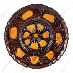 Farfurie pentru decor din ceramica. lacuit si gravat cu motive florale (13 CM)