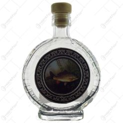 Plosca realizata din sticla decorata cu abtibild metalic - Design cu peste