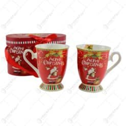 "Set 2 cani Craciun din ceramica in cutie cadou - ""Merry Christmas"""